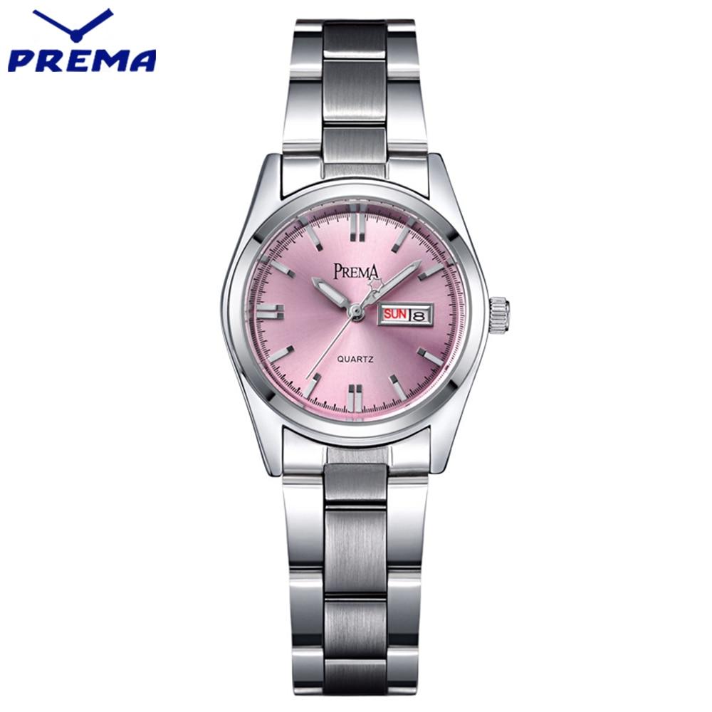 PREMA Clock Women Watches Relogio Feminino Stainless Steel Lady Wrist Watch Fashion Casual Montre Femme Quartz