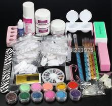 Pro Acrylic Nail Art Tips Decorations Glue File Powder Liquid Glitter Brush Pen Tweezer primer Tool Manicure set crystal