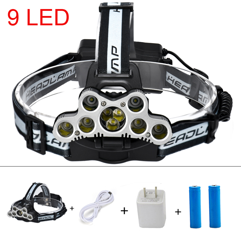 NEW YEAR USB rechargeable 9*CREE XM-L T6 Headlamp Headlight head flashlight torch head lamp rechargeable for 18650 battery