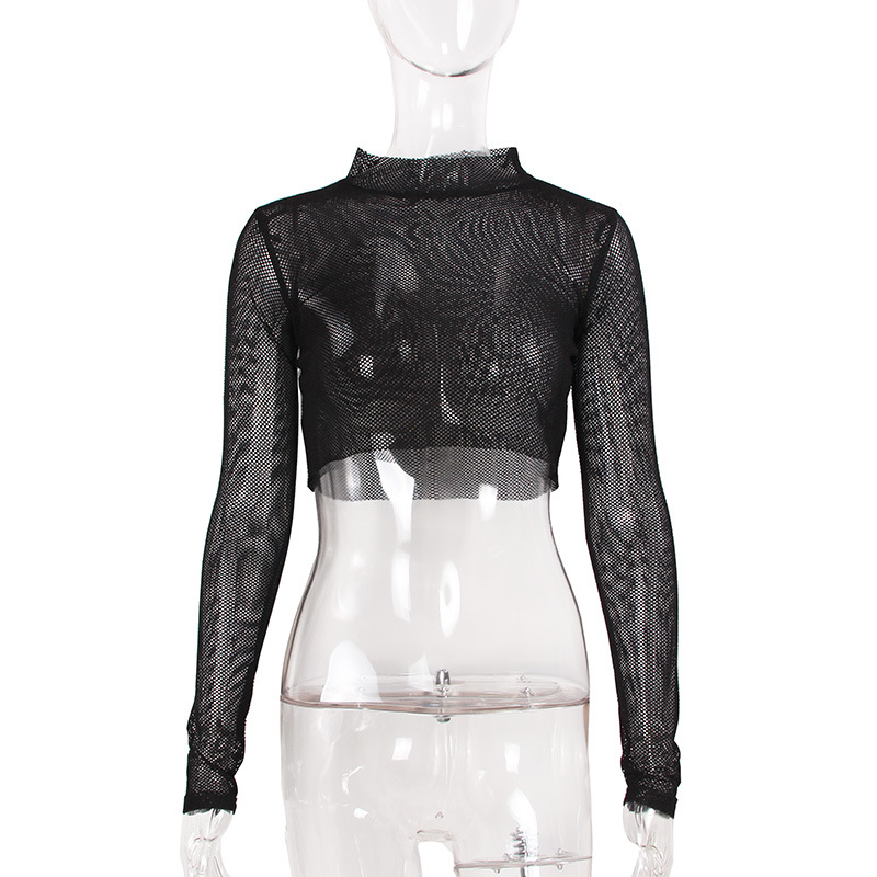 JSMY New Sexy Women Hollow Perspective Long sleeved Mesh Top Gauze Bottoming Shirt in T Shirts from Women 39 s Clothing
