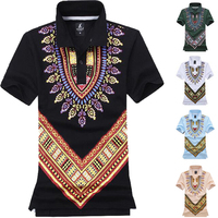 2017 New Summer Cheap Male Africa Dashiki Tops Short Sleeve Polo Shirt Men African Print Clothing