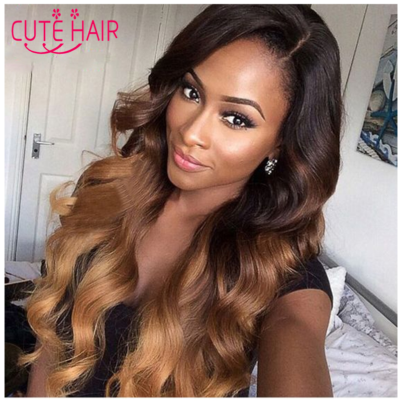 2 Tone Color Ombre Hair Weaves Blonde Ombre Indian Virgin Hair Body