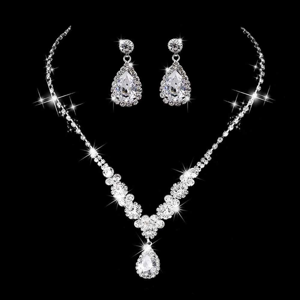 Luxury Jewelry Necklace And Earing Set Crystal Zircon Wedding Bridal Jewelry Sets For Women  Bijoux Mariage Zestaw Bizuterii