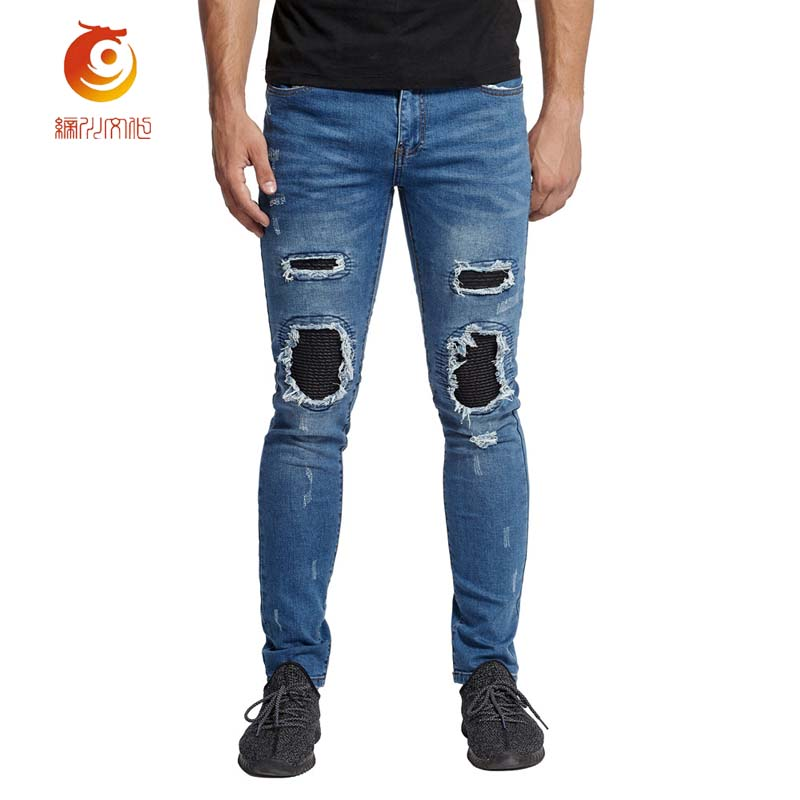 New Motorcycle Men Jeans Vintage Style Hip Hop Jeans Personality Holes Straight Mid Waist Casual Mens Streetwear Jeans
