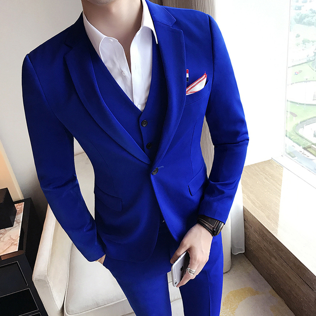 Royal Blue Mens Suit Solid Color Mens Classic Suits Red Prom Suit ...