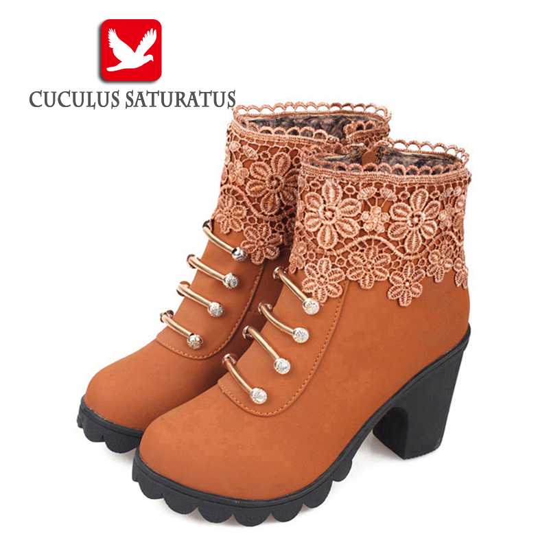 Cuculus 2017 Women Boots Fashion PU Leather Round Toe Ankle Boots Sexy Lace Ladies High Heels Platform Shoes Woman 331 riding boots chunky heels platform faux pu leather round toe mid calf boots fashion cross straps 2017 new hot woman shoes