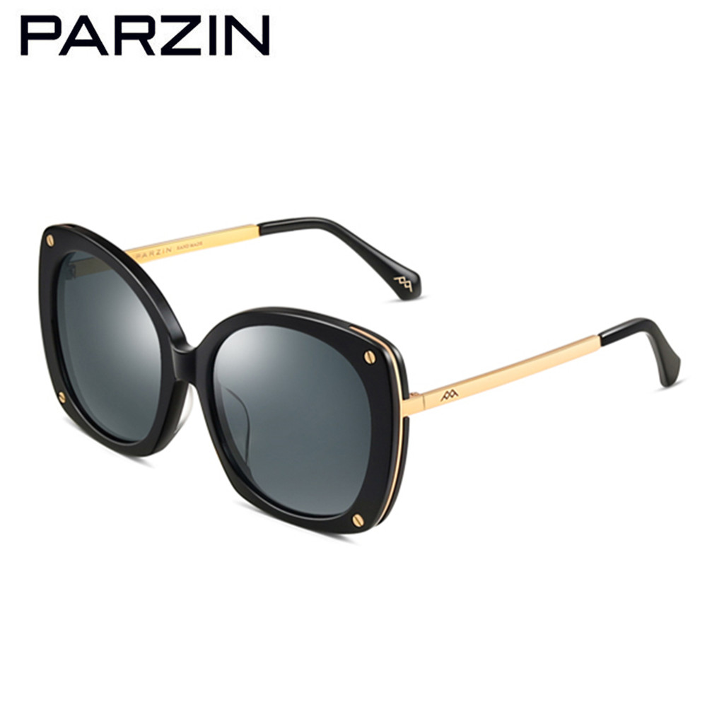 PARZIN Polarized Sunglasses Women Vintage Female Sun Glasses Lens Ladies Driving Glasses Shades Black With Case