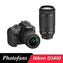 Nikon D3400 DSLR камера с AF-P 18-55 мм и AF-P 70-300 мм VR объективы(Совершенно