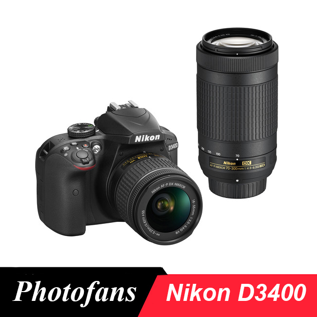 Nikon D3400 DSLR Camera with 18-55mm and 70-300mm Lenses (Br