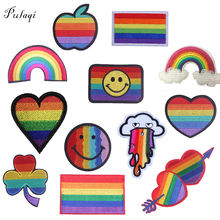 Pulaqi Smile Rainbow Iron On Patches For Clothing Lgbt Flag Gay Pride Embroidered Patch DIY Sticker Clothes Appliques
