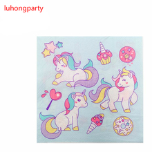 20pcs 33*33cm cute Unicorn paper napkins serviettes decoupage decorated for wedding party virgin wood tissues
