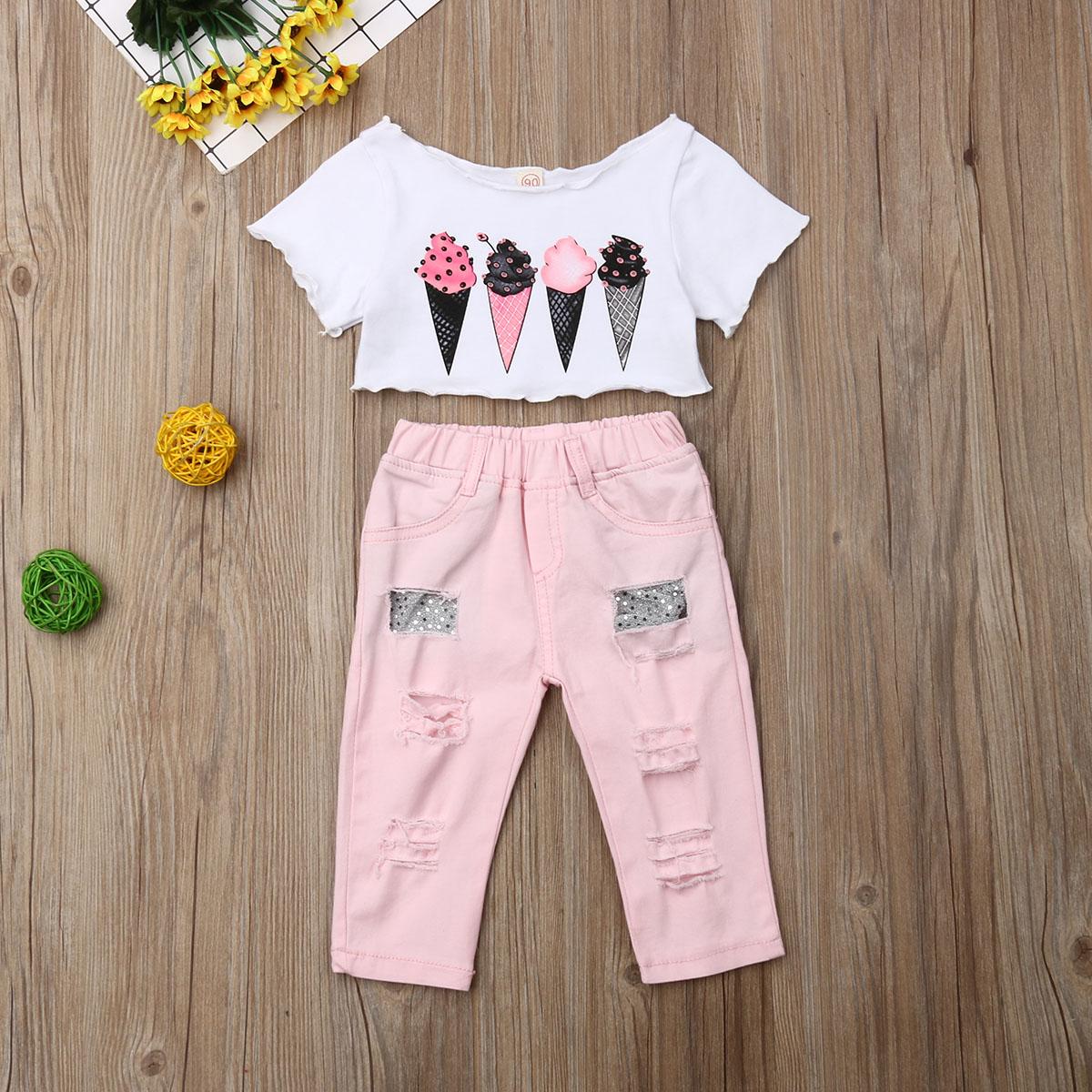 US Baby Girls Outfits 2PCS Pink Summer T-shirt+Denim Shorts Toddler Kids Clothes