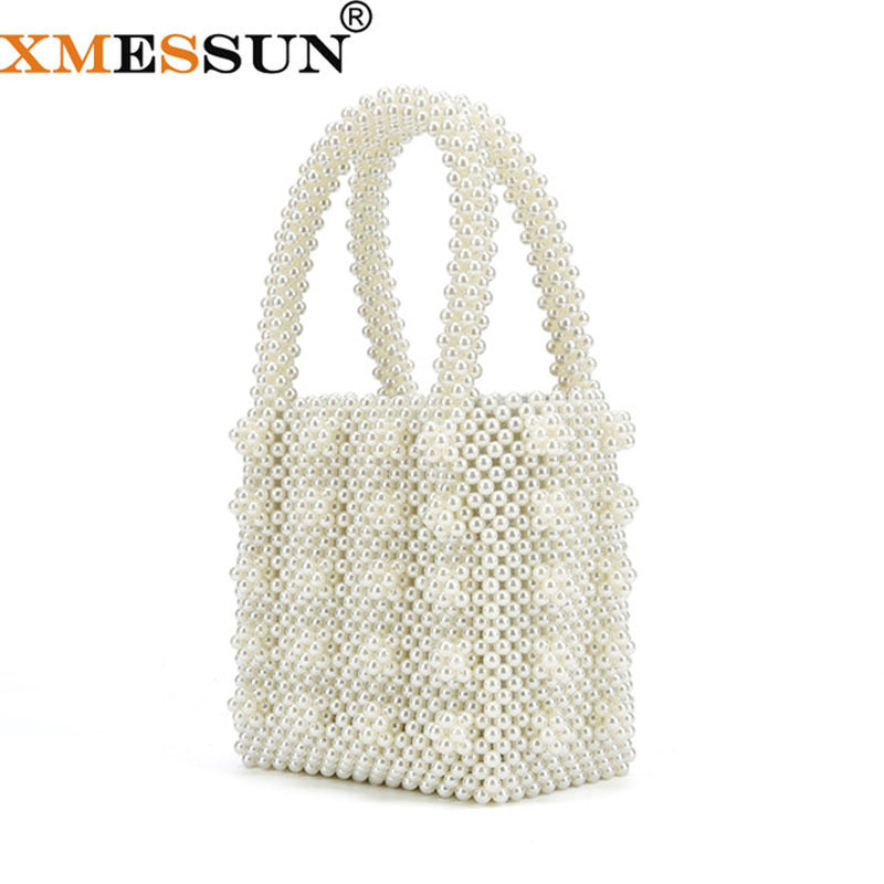 XMESSUN Pearls Bag Beading Box Totes Bag Women Party Elegant Handbag 2019 Summer Luxury Brand White Yellow Blue Dropshipping F02-in Top-Handle Bags from Luggage & Bags    1