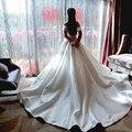 2016 new elegance palace  trailing off shoulder long slim simple wedding dress vestido de noiva robe de mariage