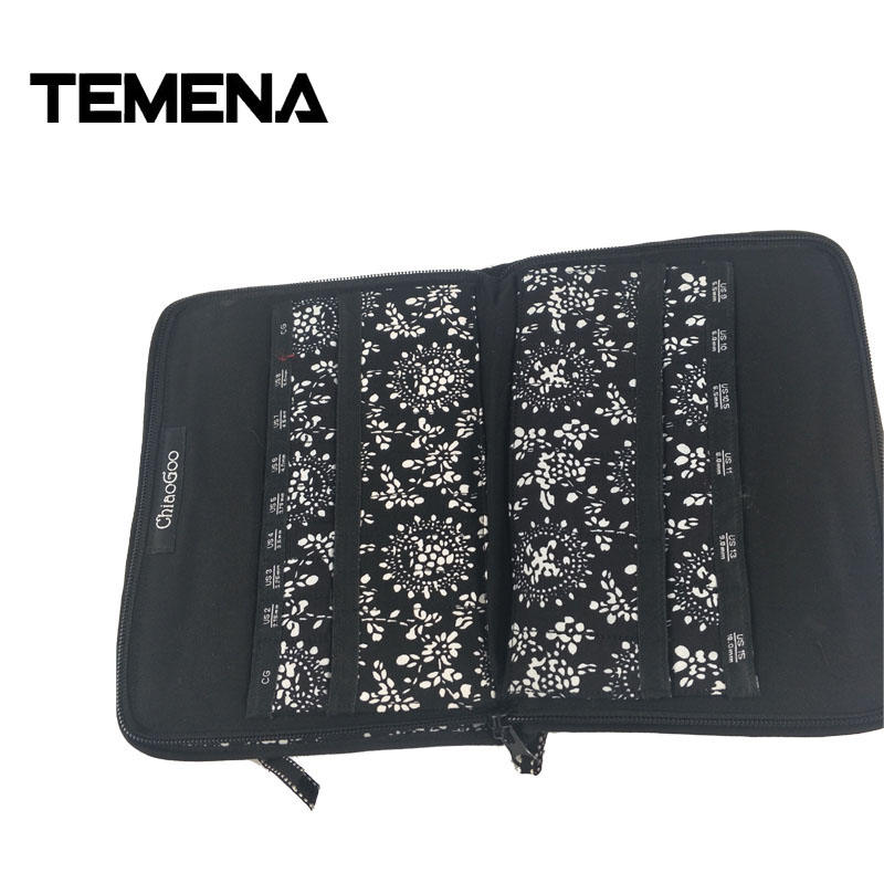 Temena 2018 New Printing ChiaoGoo Interchangeable Needle Bag Storage Needle Case For Knitting And Makeup Brush 25.3cm*15.3cm