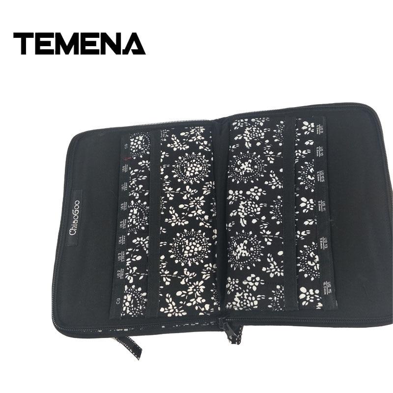 Temena 2018 New Printing ChiaoGoo Interchangeable Needle Bag Storage Needle Case For Knitting And Makeup Brush 25.3cm*15.3cm