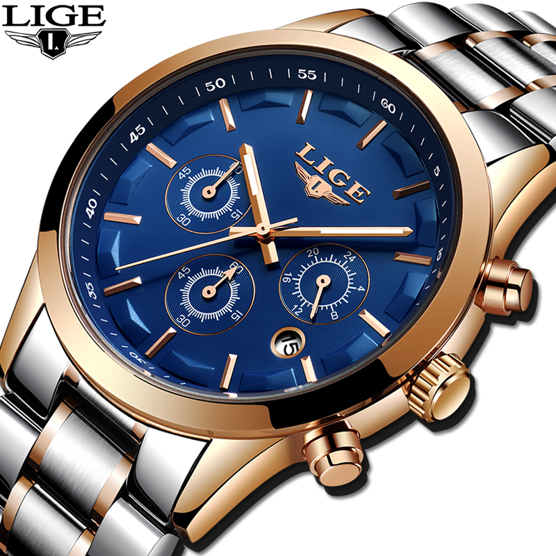 LIGE men's watches luxury brand full steel casual quartz watch men sport military waterproof Wristwatch clock Relogio Masculino 2017 lige brand luxury full stainless steel watch men business casual quartz watches military wristwatch waterproof relogio