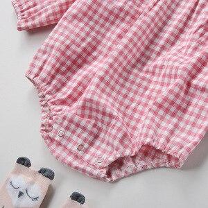 Image 5 - 2018 אביב בנות תינוק בגדי אביב סלעית סרבל כותנה Romper חליפת יילוד טיפוס תינוקת קיץ בגדים עם כובע