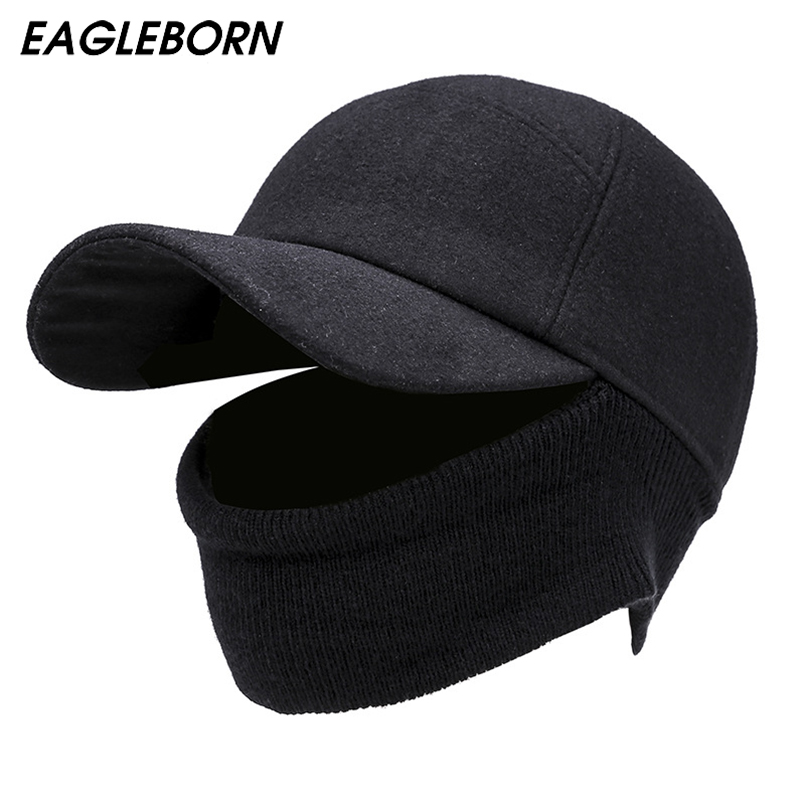 EAGLEBORN Men's   Baseball     Cap   Winter Warm Earflap Dad Hats Warm Russia Hats Casquette Gorro Fitted Earmuff Protection Gorras Para