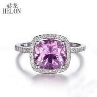 HELON Solid 10K White Gold 8mm Cushion 3 08ct Pink Topaz Engagement Wedding Ring Pave 0