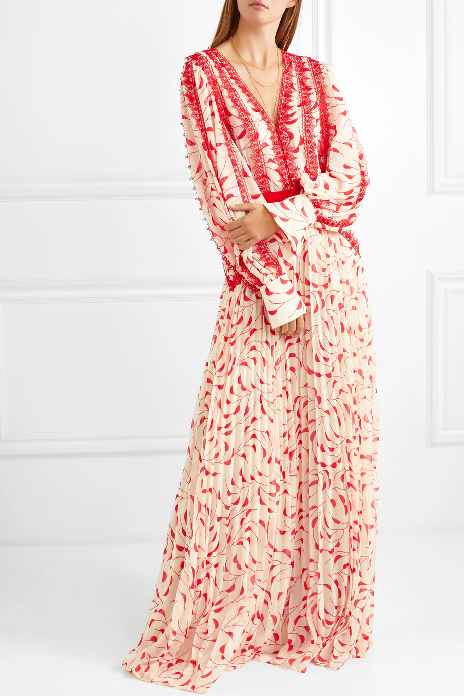 2019 New arrive Women lace trimmed pleated printed chiffon maxi dress
