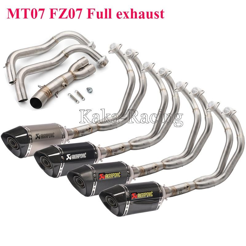 Mt07 Fz07 Carbon Fiber Akrapovic Exhaust Muffler Escape Moto Full System Slip On For Yamaha Mt 07 Fz 07 Tracer 2014 2018 Xsr700
