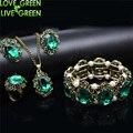 Свадебные Австрийский хрусталь wintage бронзовая покрытием кейт принцесса ювелирные Изделия устанавливает Ожерелье Серьги браслет кольца 1105