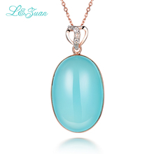 I&Zuan 925 Sterling Silver Rose Gold Color With Natural Chalcedony Oval Blue Stone Necklace & Pendant For Women Chiristmas Gift