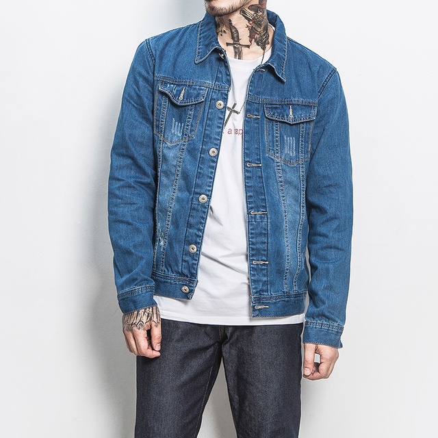 Japan Style Jeans Men Jacket Fashion Simple Slim Fit Mens Casual
