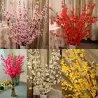 100 шт искусственные вишневые весенние сливы с цветущей веткой персикового дерева шелковое Цветочное дерево для украшения свадебной вечери...
