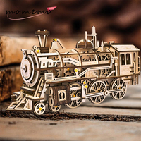 MOMEMO Drive Locomotive 3D Wooden Puzzle Creative Mechanical Model Wooden Puzzle DIY Clockwork Gear Moveable Assembly Toys