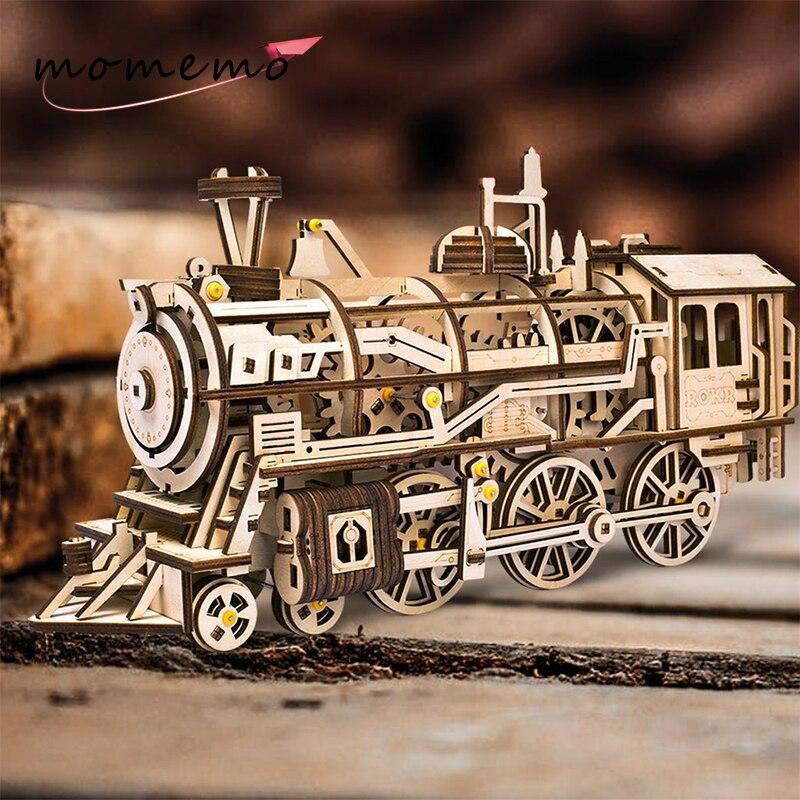 MOMEMO Drive Locomotive 3D Puzzle en bois modèle mécanique créatif Puzzle en bois bricolage mécanisme de travail mécanique engins mobiles assemblage jouets