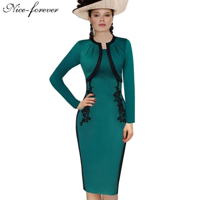Nice-para sempre elegante do vintage lindo bainha dress turquesa apliques patchwork cabido negócios completo manga lápis dress b247