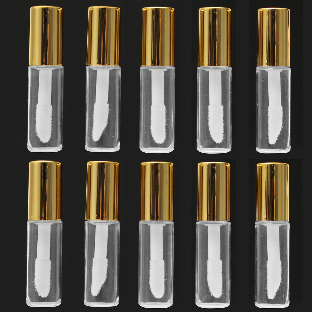 10 Pieces 1.2ML Empty Transparent PE Lip Gloss Tubes Plastic Lip Balm Tube Lipstick Mini Sample Cosmetic Container With Gold Cap