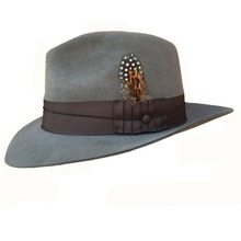 d9837eb3aacc3 Classic Luxury Angora Wool Fedora Hat -Black Grey Brown Colors