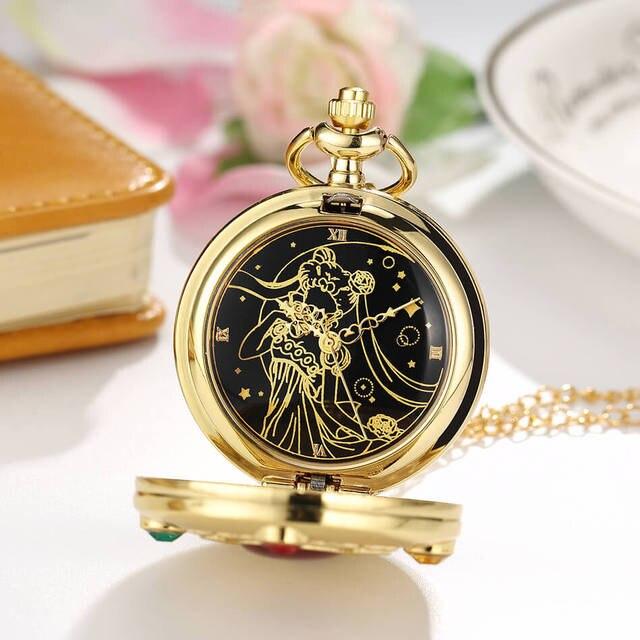 Anime Sailor Moon Pocket Watch Chains Girls Vintage Quartz Pocket Watches Mens Womens Fans Gifts relogio de bolso