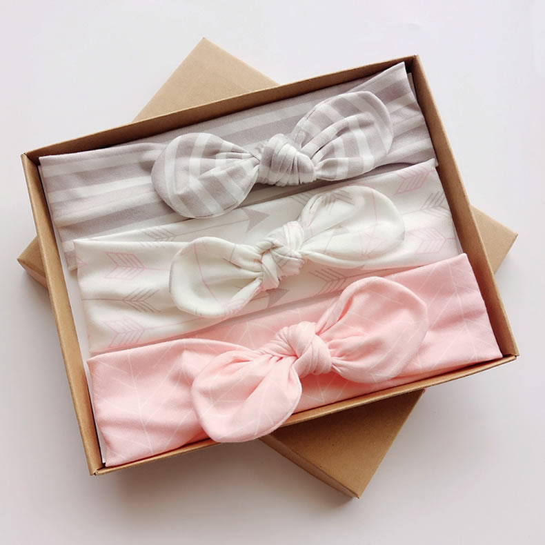 Newborn baby kids gifts 3pcs/set girls headband Bow knot Elastic hairband with Gifts box Package hair accessories