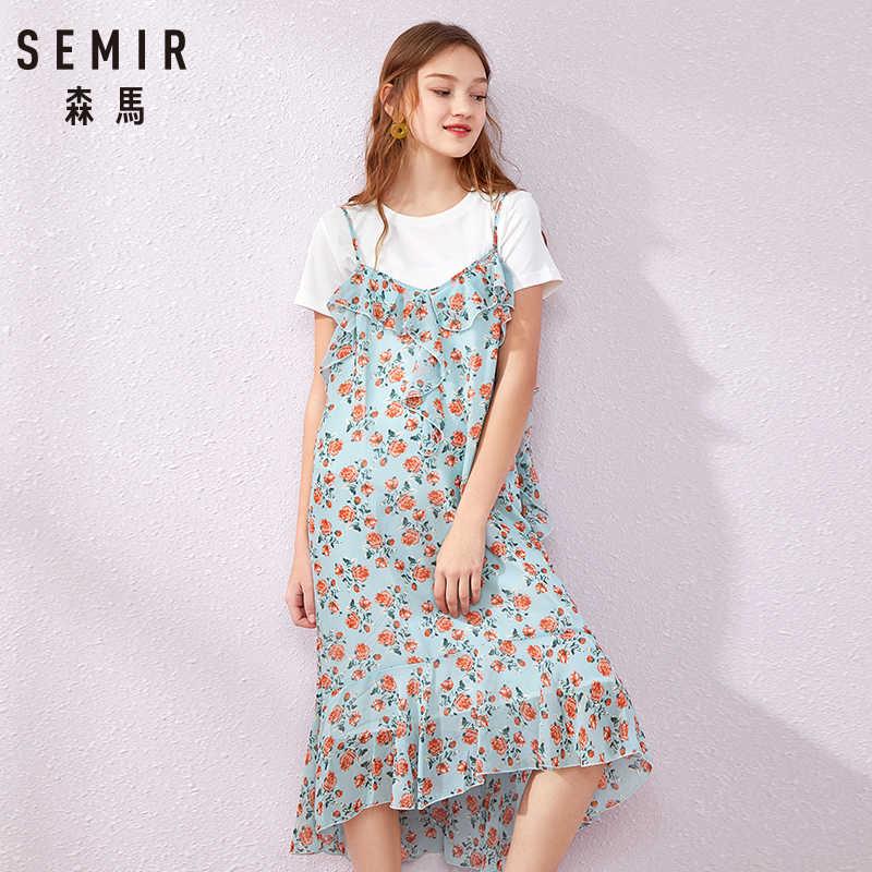 SEMIR/Новинка 2019 года; модное летнее платье с принтом для девочек; большие размеры; Повседневная футболка с круглым вырезом; цвет черный, белый; футболка Веселая Женская одежда с карманами