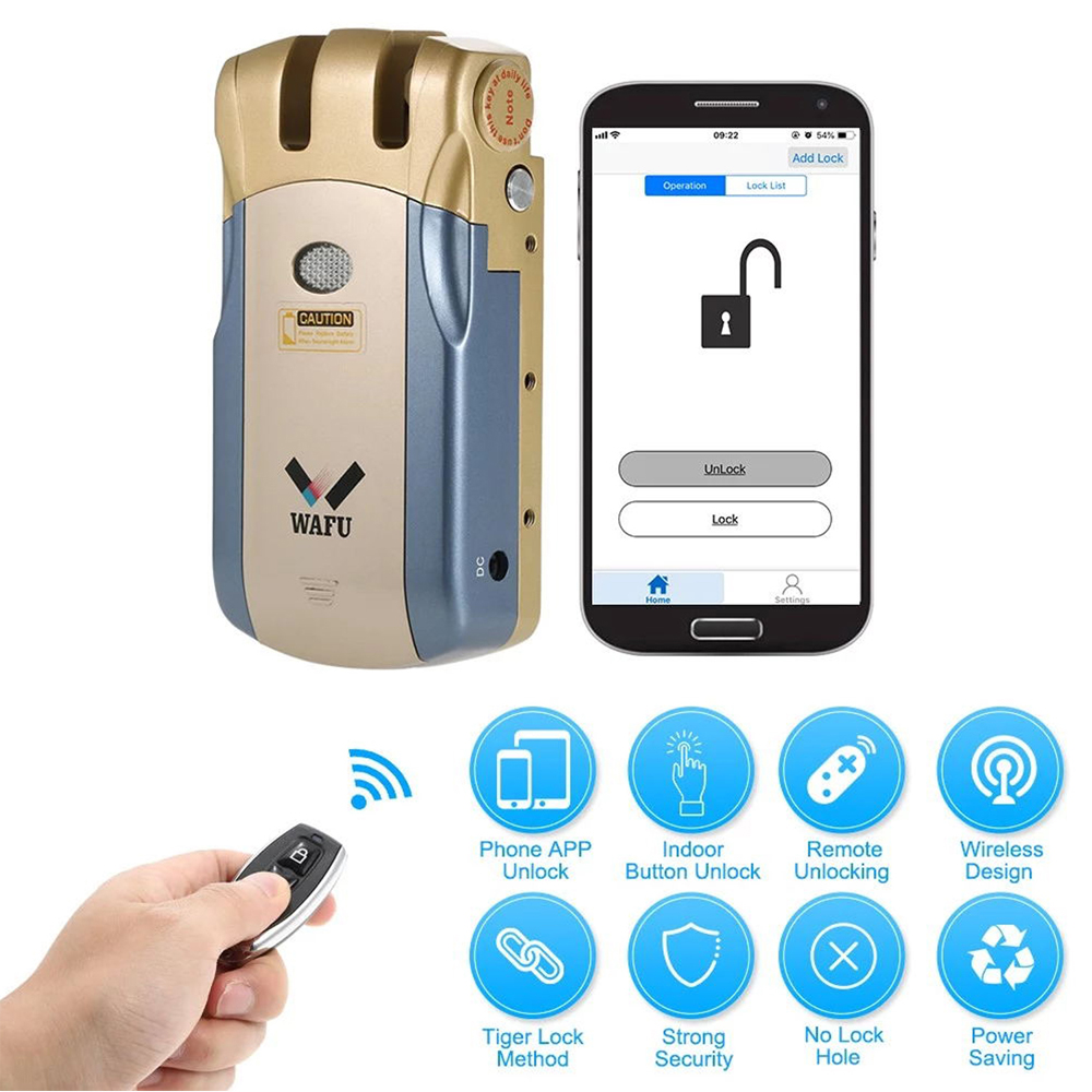 WAFU WF-018U Wireless Remote Control Lock Security Invisible Keyless Intelligent Lock Smart Door Lock IOS Android APP Unlocking