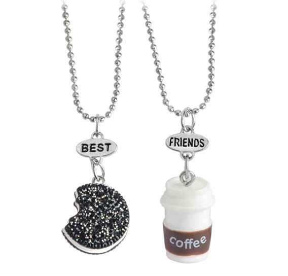2 Pcs/Set Best Friends BFF Pendant Bead Chain Necklace Fastfood Coffee Cup Oreo Glitter Biscuit Kids Jewelry Boys Girls Gift