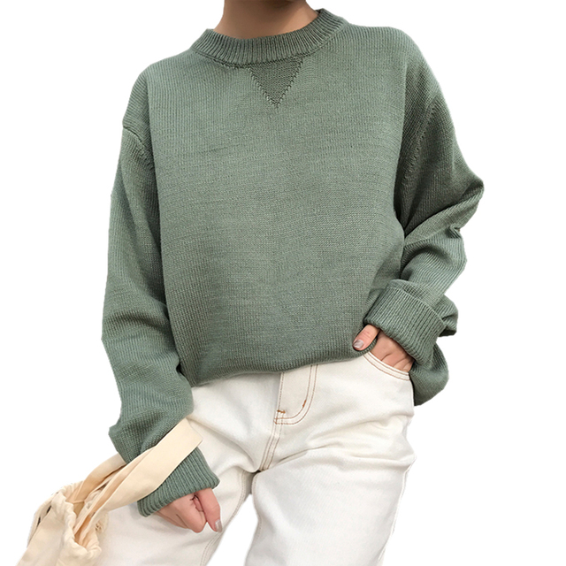 d4441ccefae3b Autumn Winter Sweater Women Crew Neck Long Sleeve Pullover Women Basic  Sweaters Women 2019 Retro Warm