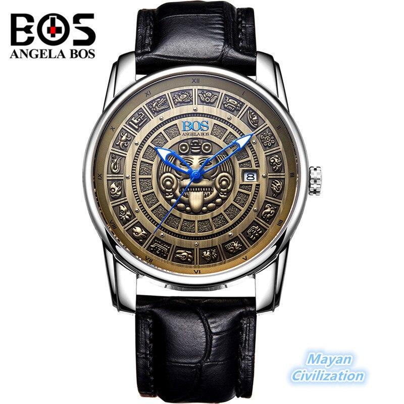 Relogio Masculino ANGELA BOS Rétro Maya Montre Mécanique Hommes Étanche Lumineux Montre-Bracelet Antique Militaire Horloge Reloj Hombre