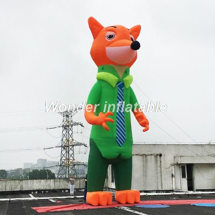 Custom made géant gonflable caractère renard en vêtements pour événement publicité