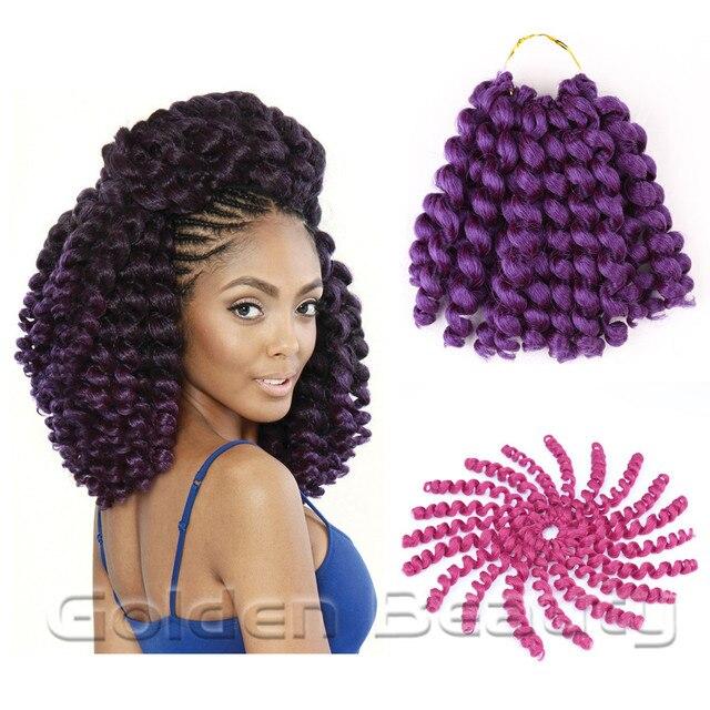 Golden Beauty 8 pouce jumpy baguette curl Crochet Tresses Extensions De Cheveux de Crochet jamaïcain havana