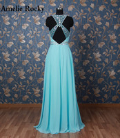 Sophoeniya Real Photo Bling Beads Turquoise Evening Dress 2017 Unique Back Long Dresses Formal Gowns Robe