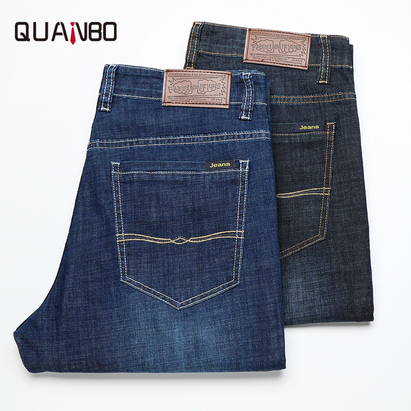 QUANBO new mens spring loose straight denim trousers summer thin youth stretch men smart casual   jeans   brand clothing plus size