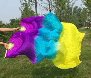 Image 4 - Hot Bán Cổ Điển 180 cm Múa Bụng Fan Mạng Che Mặt Màu Trắng Bạc Hà Dọc Gradient Nhuộm Vũ Công Thực Hành Fan Đối Với Phụ Nữ Cô Gái