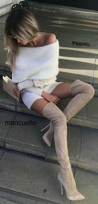 Concise Style Women Simply Beige Suede Stiletto Heel Over The Keen High Boots Sexy Pointed Thin Looking Long Boots Celebrities style beige