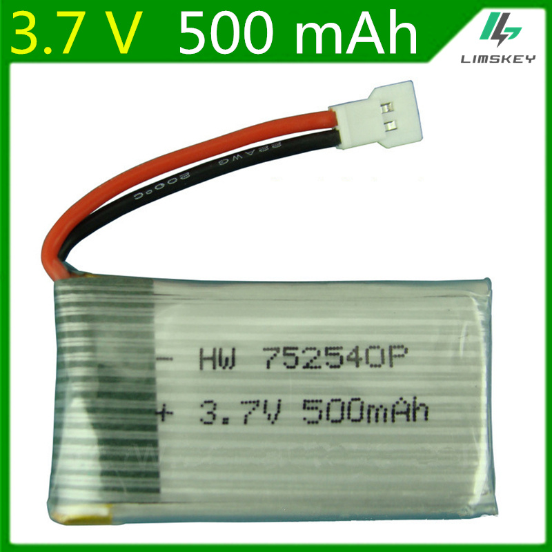 <font><b>3.7V</b></font> <font><b>500mAH</b></font> <font><b>Lipo</b></font> <font><b>Battery</b></font> For Syma X5C X5SC M68 Cheerson CX-30 Quadrocopter 3.7 V 500 mAH 752540 FREE SHIPPING image