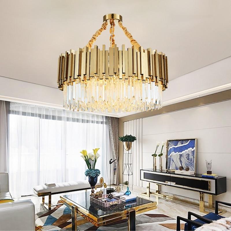 Lustre de Cristal moderna para Sala de estar da Sala de Jantar de Ouro Lustre De Cristal Luzes LED de Iluminação LED Lustre de Luxo